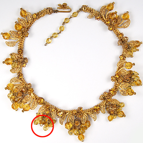 DeMario NY Gold Leaves Citrine and Poured Glass Fruits Necklace