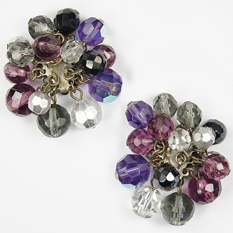 DeMario NY Amethyst and Aurora Borealis Poured Glass Beads Clip Earrings