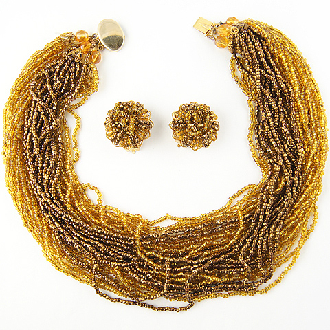 Robert Braided and Plaited Gold and Citrine Poured Glass Multistranded Necklace and Button Clip Earrings Set