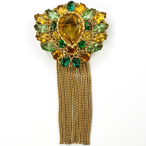 Original by Robert Citrine Peridot and Emerald Filigree Shield Pin or Pendant with Multiple Tassels