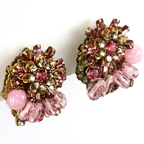 Miriam Haskell Gold Pink Topaz and Pink Quartz Flower Clip Earrings