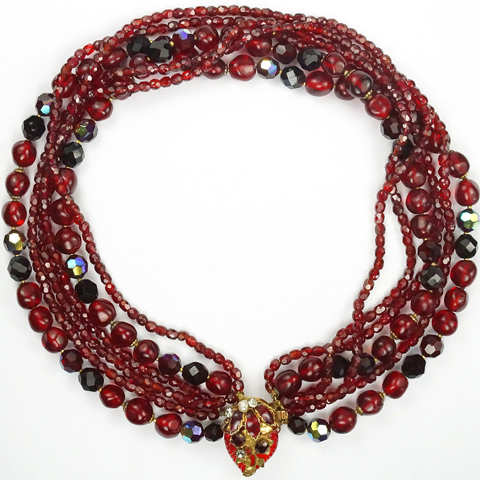 DeMario Red Poured Glass and Aurora Borealis Beads Six Stranded Necklace