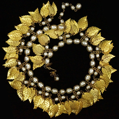 Miriam Haskell Pendant Golden Leaves and Baroque Pearls Sprung Choker Necklace