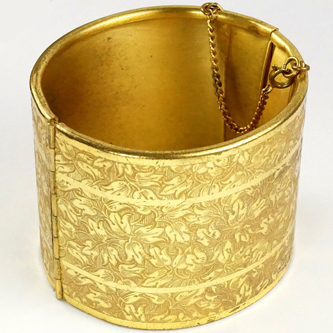 Miriam Haskell Etched Flower Pattern Gold Bangle Bracelet