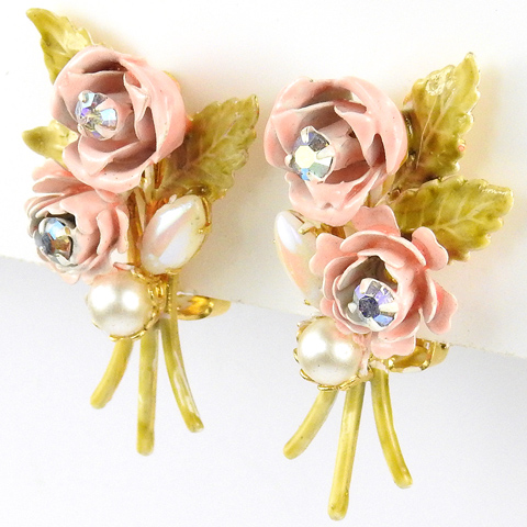 Robert Pink Roses and Pearls Clip Earrings