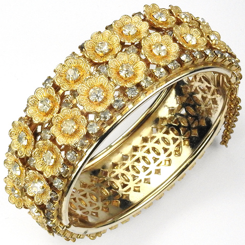 Miriam Haskell (unsigned) Gold and Diamante Flowers Bangle Bracelet