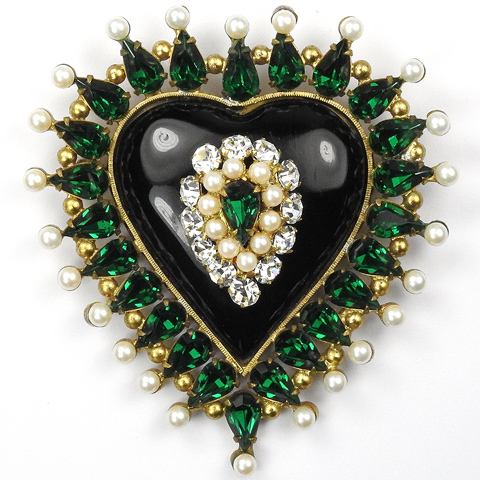 Fashioncraft Robert Gold Onyx Emeralds and Pearls Spangled Heart Pin