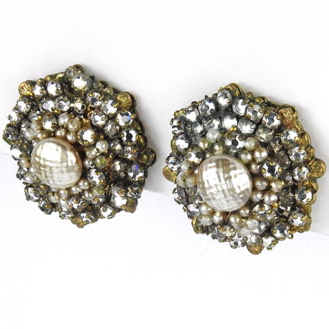 Miriam Haskell Gold Filigree Baroque and Seed Pearls Octagonal Button Clip earrings