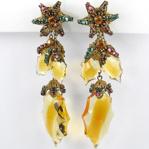 Miriam Haskell Gold Filigree Stars Multicolour Stones and Glass Holly Leaves Pendant Clip Earrings
