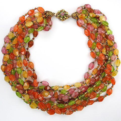 Miriam Haskell Multicolour Pastel Poured Glass Nine Stranded Choker Necklace
