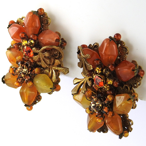 Miriam Haskell Gold Filigree and Leaves and Pastel Glass Beads Double Flower Clip Earrings