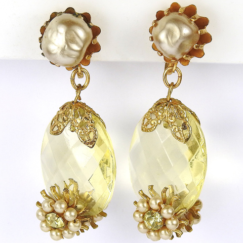 Robert (unsigned) Baroque Pearl and Double Sided Pendant Citrine Crystal with Pearl Flower Clusters Screwback Earrings