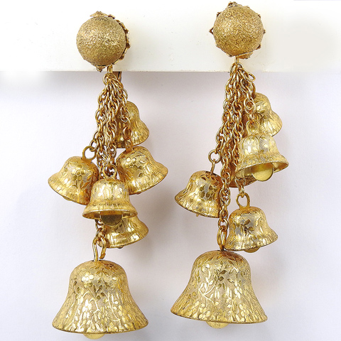 Miriam Haskell Six Golden Pendant Ringing Bells Clip Earrings