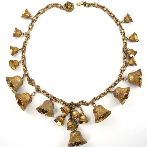 Miriam Haskell Golden Pendant Ringing Bells Necklace