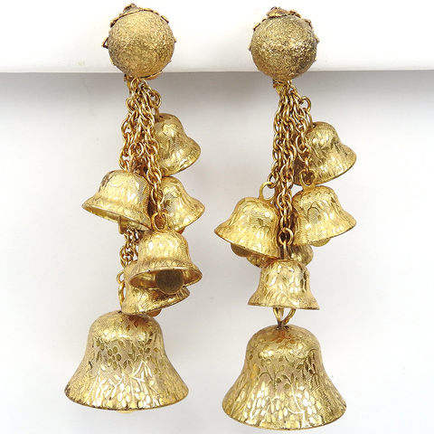 Miriam Haskell Golden Pendant Ringing Bells Pendant Clip Earrings