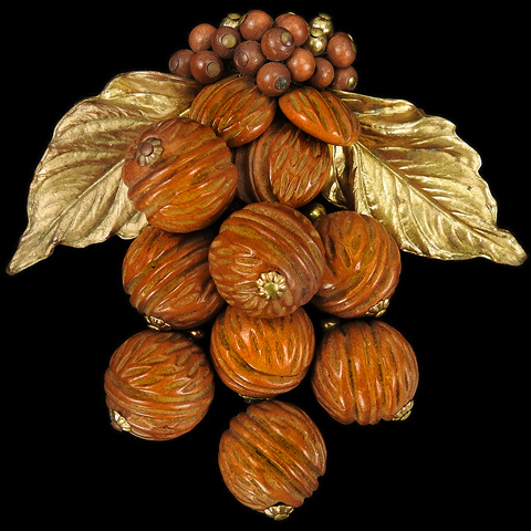 Miriam Haskell Gold Leaves and Carved Wood Pendant Nuts and Berries Dress Clip