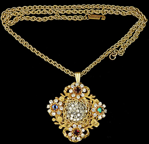 Miriam Haskell Gold Filigree Pave and Multicolour Stones Flower Garland Pendant Necklace