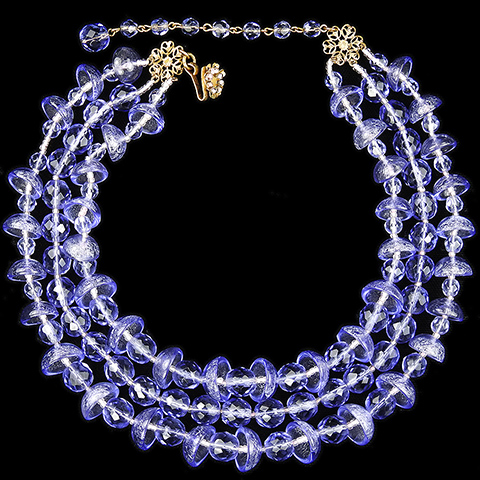 Miriam Haskell Blue Poured Glass Hemispheres and Beads Three Stranded Choker Necklace with Gold Filigree Flower Clasp