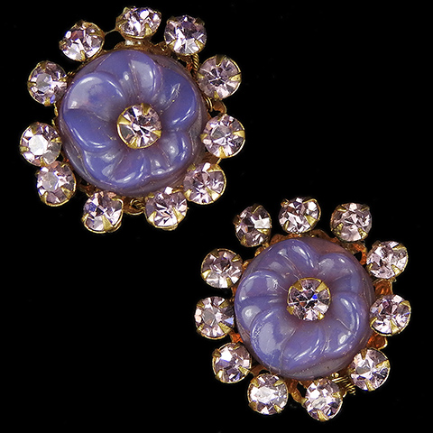 Miriam Haskell Gold Filigree Amethysts and Purple Poured Glass Flower Button Clip Earrings