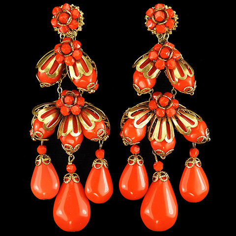 Miriam Haskell Red Coral Poured Glass Multiple Pendant Teardrops Flower and Berry Clusters Chandelier Clip Earrings