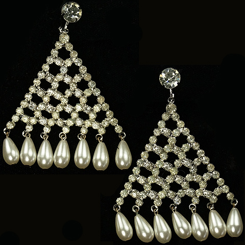 Hattie Carnegie (unsigned) Triangular Pave Lattice with Multiple Pendant Teardrop Pearls Clip Earrings