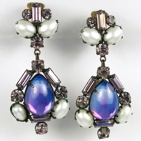 Hattie Carnegie Aurora Borealis Iridescent Opal and Pearls Pendant Clip Earrings