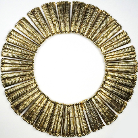 Hattie Carnegie Beaten Gold Collar Necklace