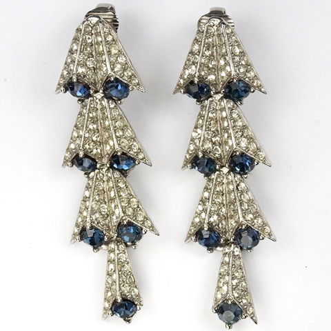 Hattie Carnegie (unsigned) Pave and Sapphire Comet Tail Pendant Clip Earrings