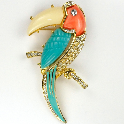 Hattie Carnegie (?unsigned) Gold Pave Coral Pink Turquoise and White Toucan Pin
