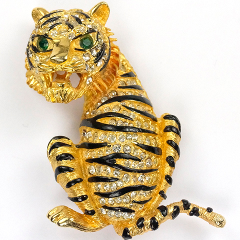 Hattie Carnegie (unsigned) Gold Pave and Enamel Roaring Striped Tiger Pin