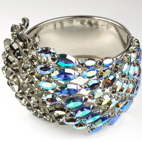 Alice Caviness (unsigned) Silver Black Diamond and Iridescent Blue Aurora Borealis Chaton Waves Bangle Bracelet