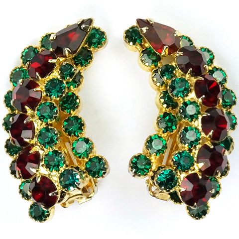 Hattie Carnegie Emerald and Ruby Gold Tracery Clip Earrings