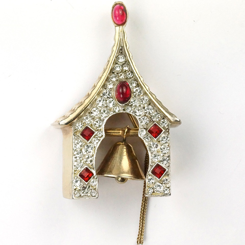 Hattie Carnegie Gold Pave and Ruby Cabochons Tower Belfry with Ringing Church Bell Pin