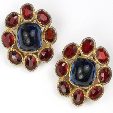 Hattie Carnegie Poured Glass Sapphire and Ruby Clip Earrings