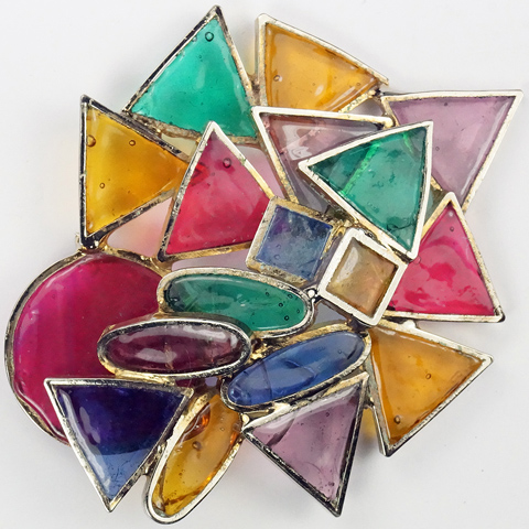 DeNicola Modernist Abstract Triangles Circles Squares and Elipses Gold and Stained Glass Pin