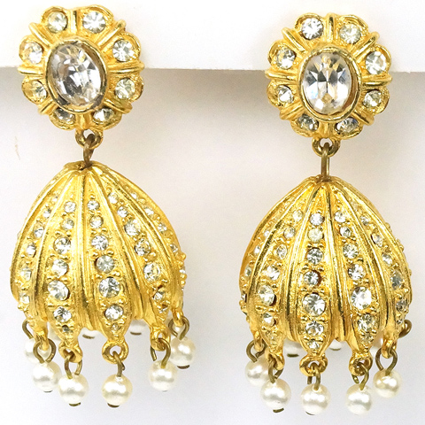 Vintage KJL Gold Pave and Pearls Pendant Bells Clip Earrings