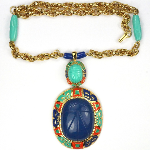 Hattie Carnegie (unsigned) Egyptian Revival Turquoise and Lapis Double Pendant Scarabs Necklace