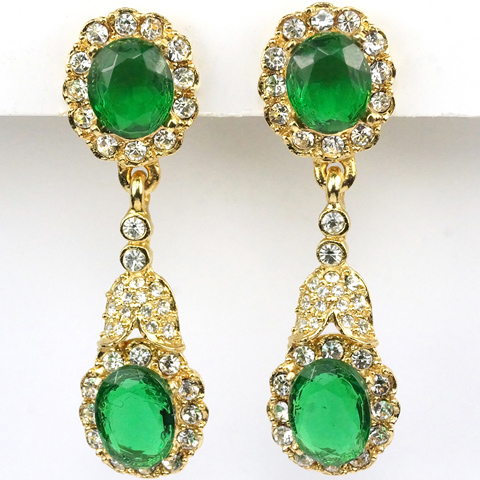 Kenneth Lane Gold Pave and Oval Cut Emeralds Pendant Clip Earrings