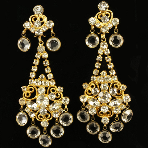 KJL Gold Filigree and Crystals Chandelier Pendant Clip Earrings