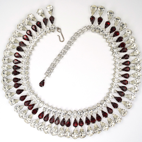 Hattie Carnegie (unsigned) Diamond and Ruby Chatons and Pendant Teardrops Collar Necklace