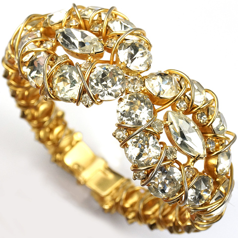 Hattie Carnegie 'Jewels of Fantasy' Gold Loops and Diamante Sprung Bangle Bracelet