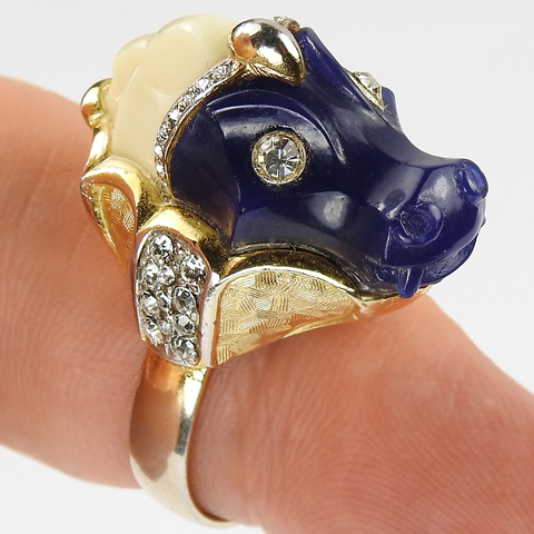Hattie Carnegie Lapis and Ivory Seahorse Head Finger Ring