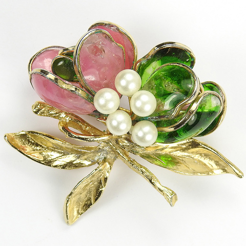 Hattie Carnegie (unsigned) Poured Glass and Pearls Flower Pin