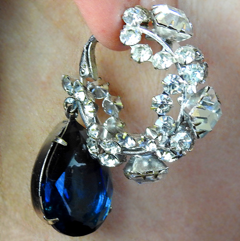 Vintage KJL Square Cut Diamante Crescents and Sapphire Teardrop Pendants Clip Earrings