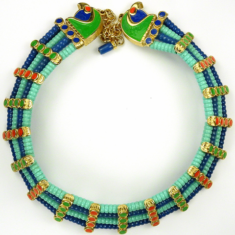Hattie Carnegie Egyptian Revival Falcon Heads Lapis and Turquoise Choker Necklace