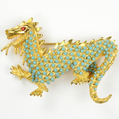 Hattie Carnegie Gold and Turquoise Cabochons Roaring Chinese Dragon Pin
