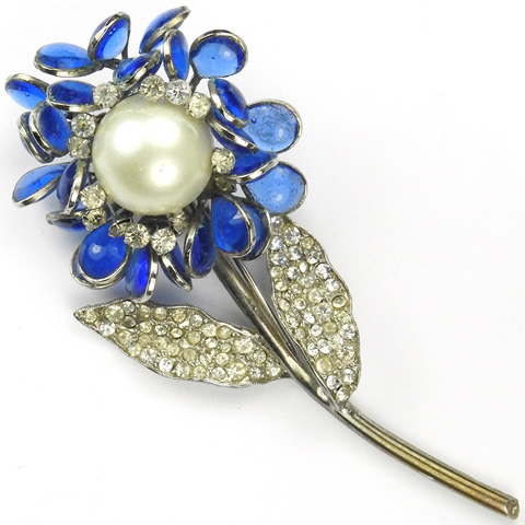 Hattie Carnegie Pave Blue Poured Glass and Mabe Pearl Flower Pin