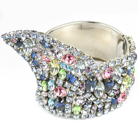 Alice Caviness (unsigned) Silver Blue Topaz and Multicolour Gems Bangle Bracelet