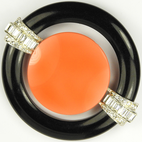 Kenneth Lane 'Art Deco Style' Pave Baguettes Onyx and Coral Circle and Disc Pin