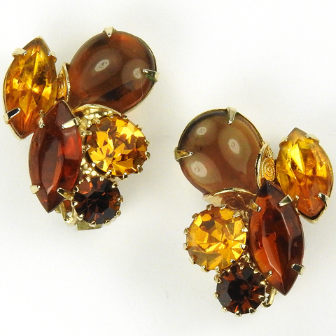 Hattie Carnegie (unsigned) Gemset Citrine and Topaz Floral Clip Earrings